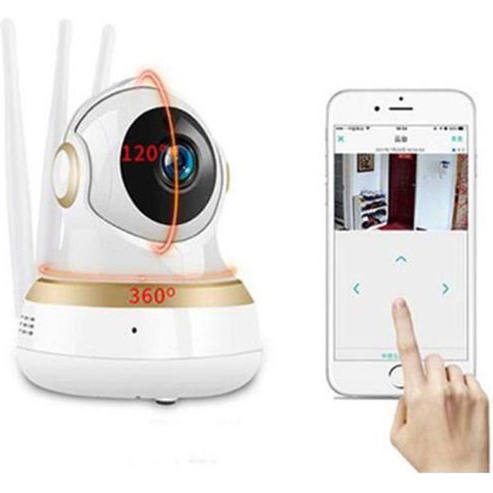 Caméra IP WIFI 1080p Vision Nocturne Babyphone sans Fil Détection de Mouvement et Pleur Carte SD Alarme Notifié avec Photo Audio Bi