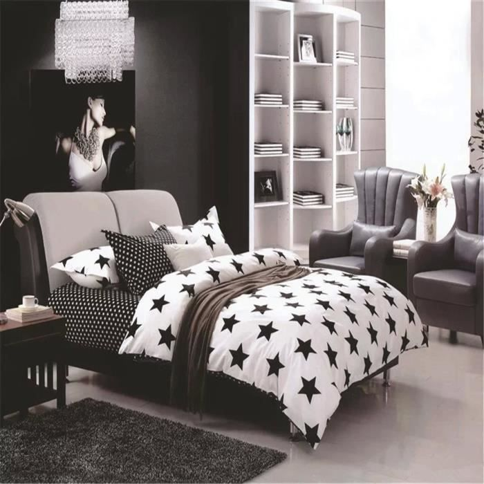 l m toiles en noir et blanc parure de couette parure de. Black Bedroom Furniture Sets. Home Design Ideas