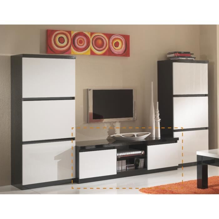 meuble tv roma laque bicolore noir blanc achat vente meuble tv meuble tv roma laque bicolo. Black Bedroom Furniture Sets. Home Design Ideas