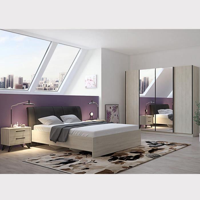 Chambre à coucher complète moderne couleur bois clair ANYA Beige L 170 x P  221,2 x H 97,8 cm