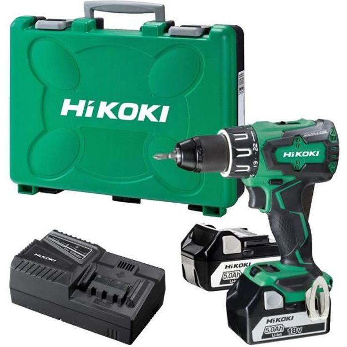 HIKOKI 18 V Sans Fil Combi Perceuse DV 18 DBSL Brushless 5.0Ah batteries chargeur Case