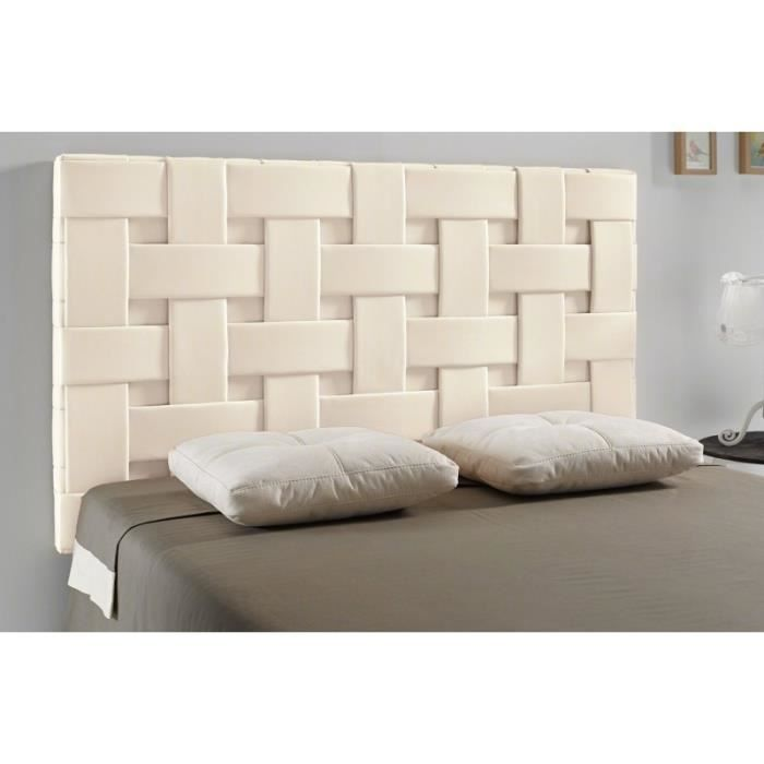 t te de lit tress pu couleur beige mesure lit de. Black Bedroom Furniture Sets. Home Design Ideas