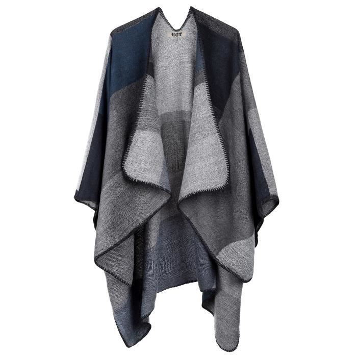 cape poncho femme tricot noir noir achat vente cape cdiscount. Black Bedroom Furniture Sets. Home Design Ideas
