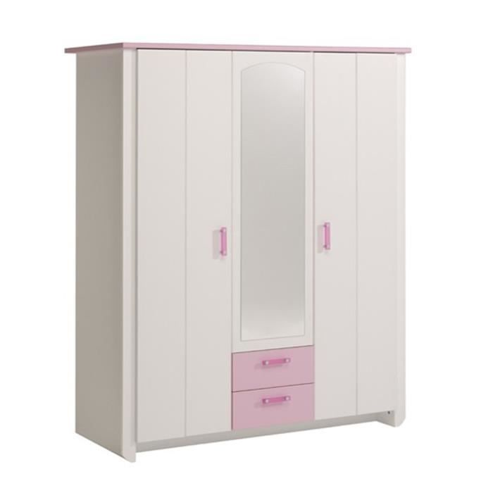 armoire 3 portes blanche et rose pour chambre fille l 136 x h 181 x p 56 cm achat vente. Black Bedroom Furniture Sets. Home Design Ideas