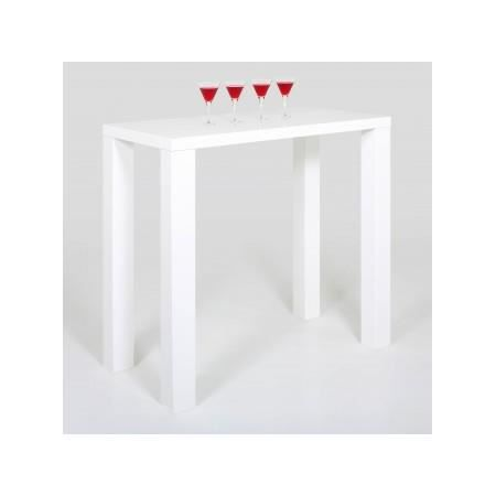 Table haute bar blanc laqu table de lit a roulettes - Table bar blanc laque ...