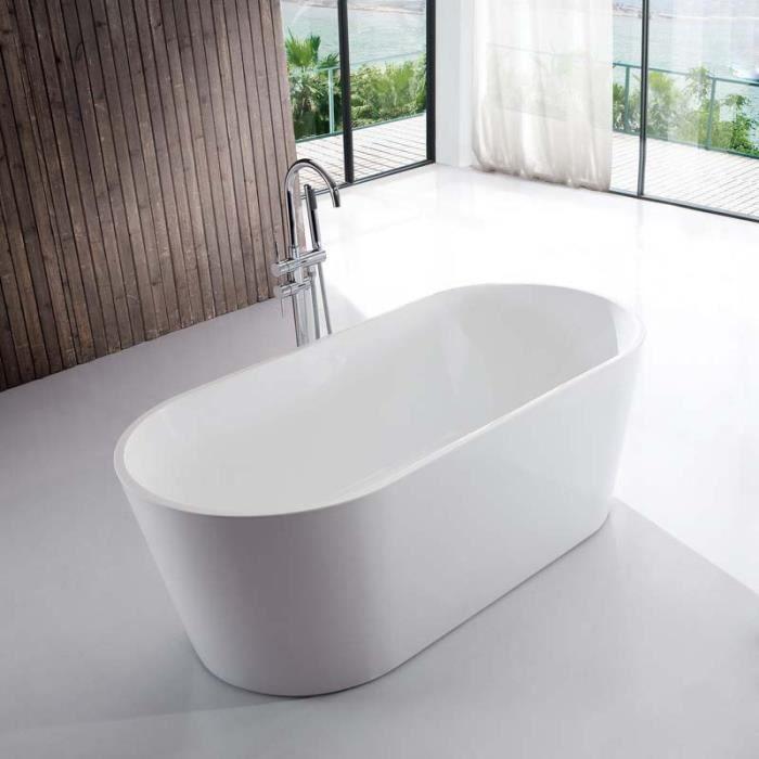 Baignoire Ilot Ovale Acrylique Blanc 170x80 Cm Milan 173000000 Blanc Brillant