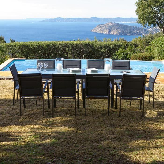 Salon jardin Aluminium Table 135-270cm + Fauteuils ...