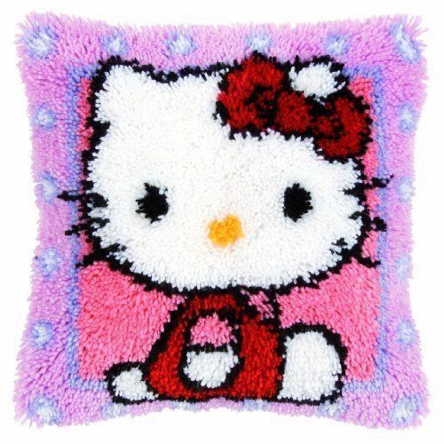 vervaco kit de tapisserie au crochet pour housse de coussin motif hello kitty multicolore. Black Bedroom Furniture Sets. Home Design Ideas