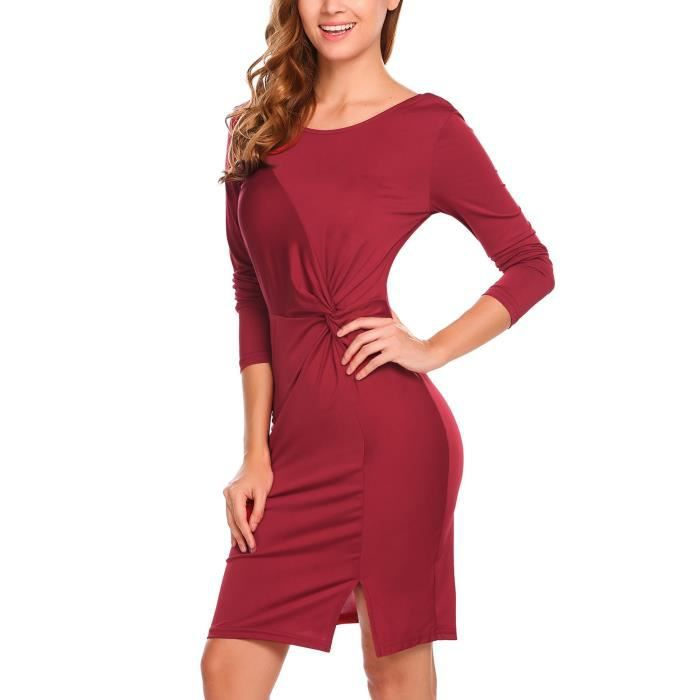 Robe Mince Sexy Femme Col-O À Manches Longues À Bout Court