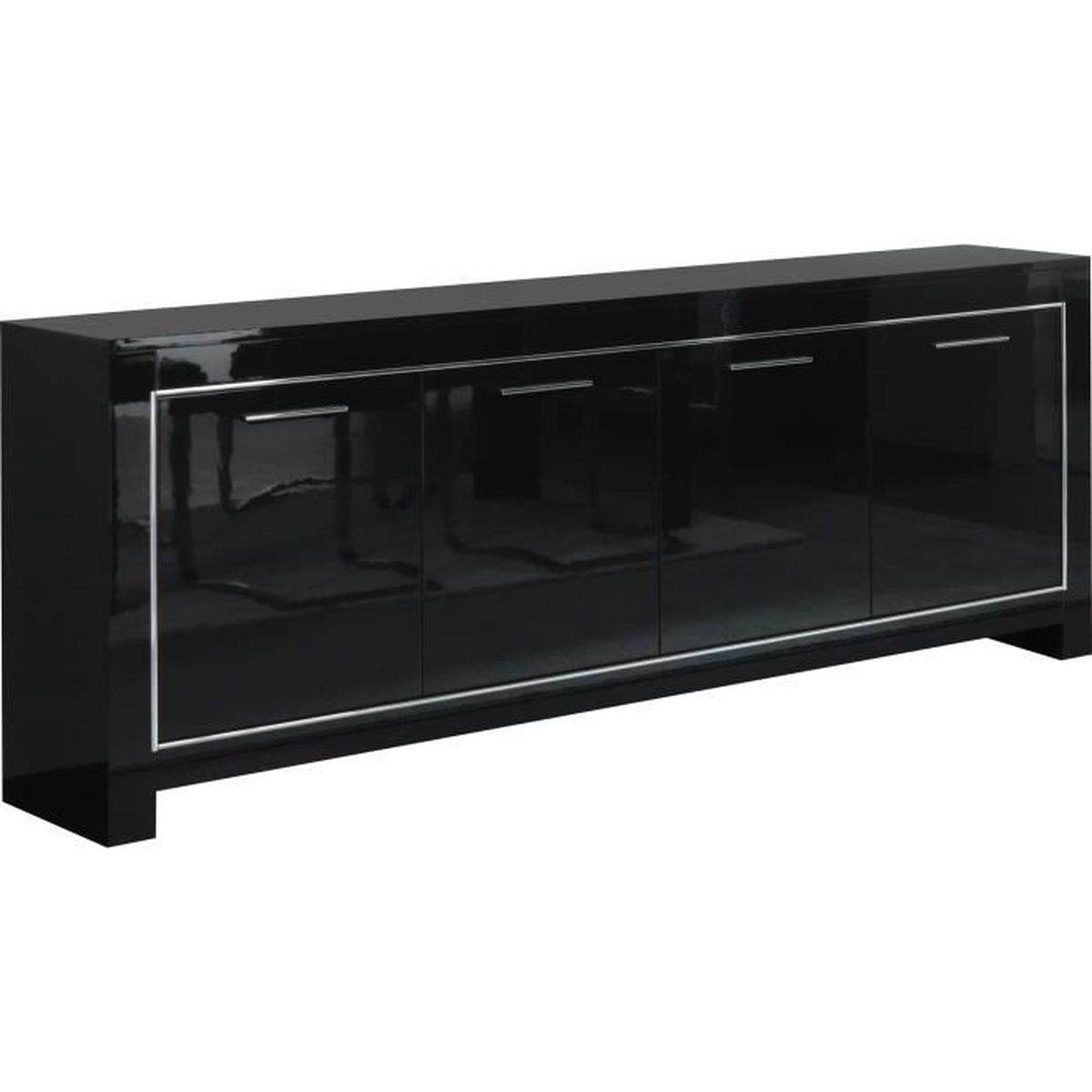 Buffet 4 portes battantes de coloris noir laqu brillant for Meuble 4 portes noir laque