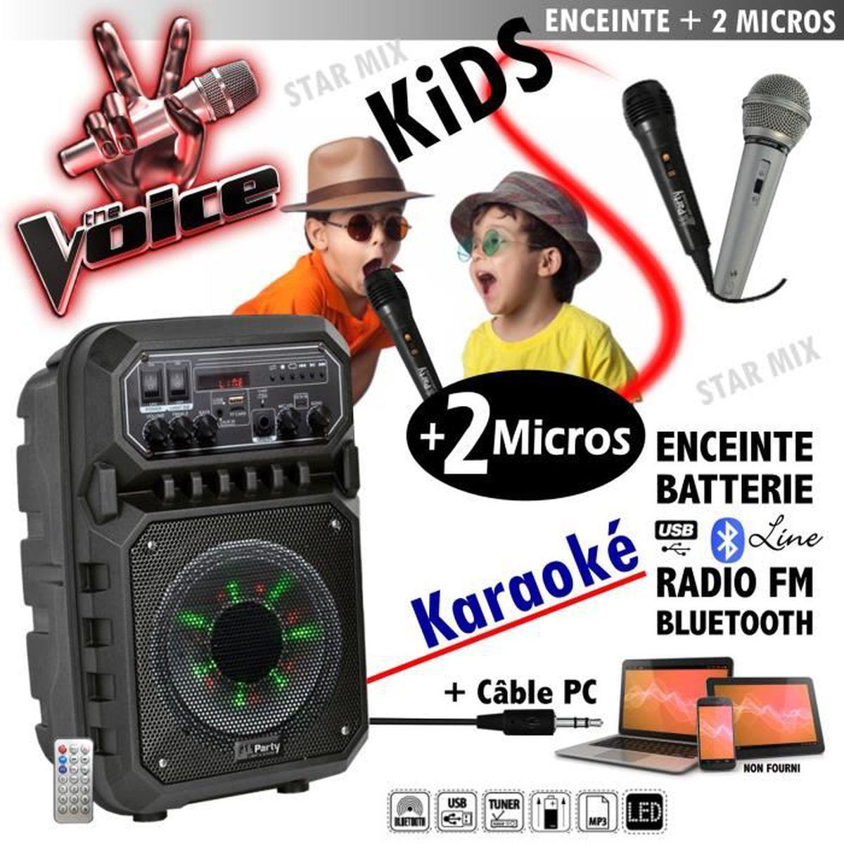 MICRO - KARAOKÉ Karaoké + 2 micros - ENCEINTE SONO + USB MP3 BLUET