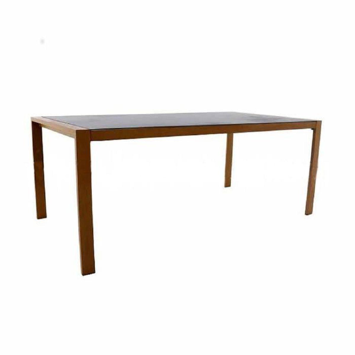 Table en aluminium coloris bois/plateau en verre ardoise ...