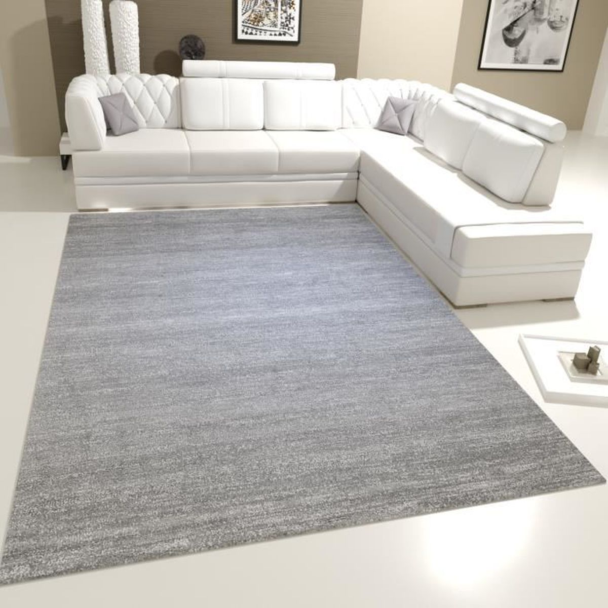tapis de salon gris blanc achat vente tapis de salon. Black Bedroom Furniture Sets. Home Design Ideas