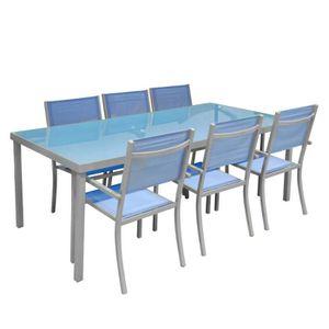 Salon de jardin en aluminium et verre BLEU- Ens… - Achat ...