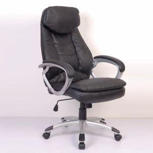 CHAISE DE BUREAU Fauteuil de bureau cro?te de cuir noir Chaise de b
