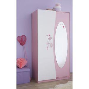 ARMOIRE DE CHAMBRE PAPILLON Armoire 2 portes 1 miroir rose/blanc
