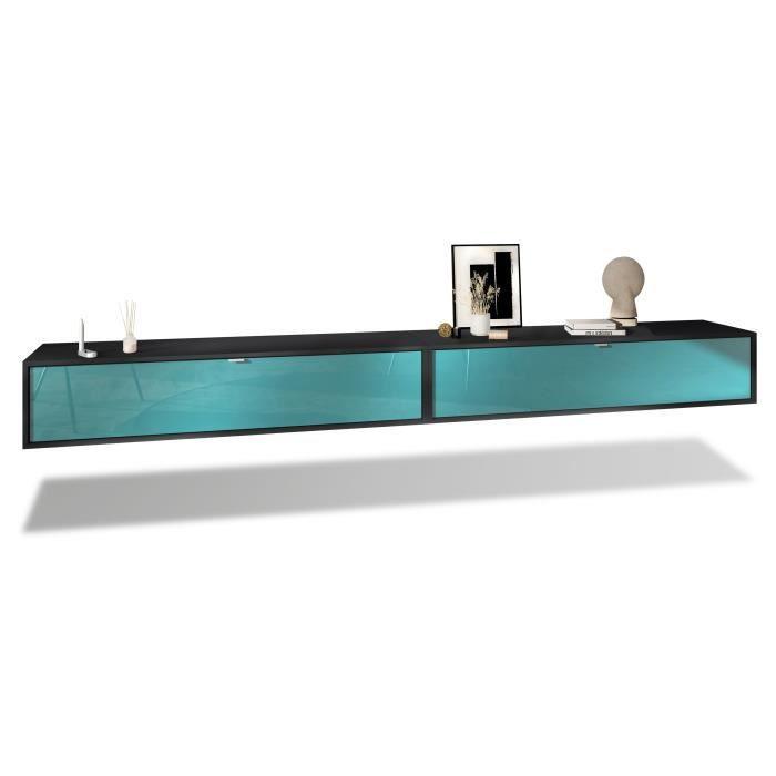 Ensemble de 2 set meuble TV Lana 140 murale lowboard 140 x 29 x 37 cm, caisson en Noir mat, façades en Turquoise haute brillance