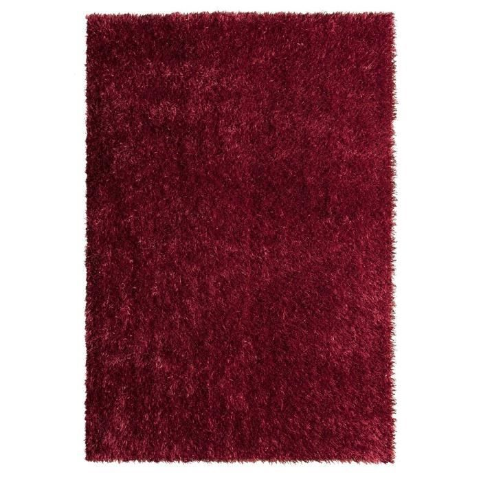 tapis de salon shaggy lilou rouge 120x170 cm achat vente tapis 100 polyester cdiscount. Black Bedroom Furniture Sets. Home Design Ideas