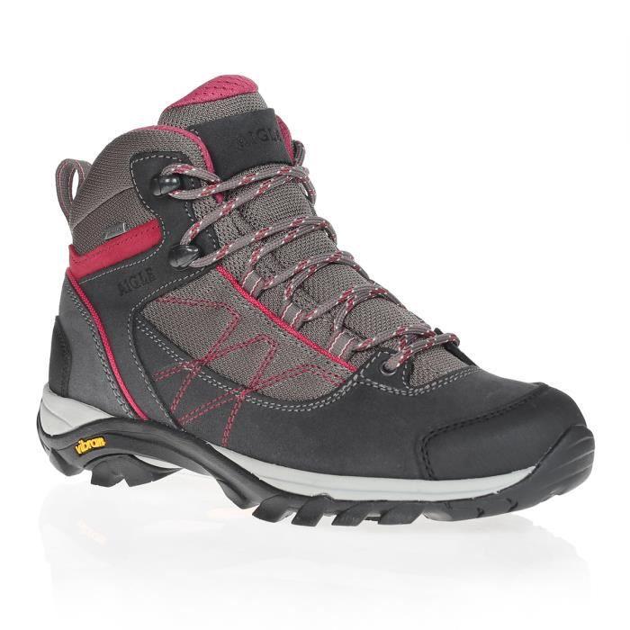 AIGLE Chaussures randonnée Gore-Tex® Mooven Mid WGTX - Femme - Gris foncé et rouge cerise