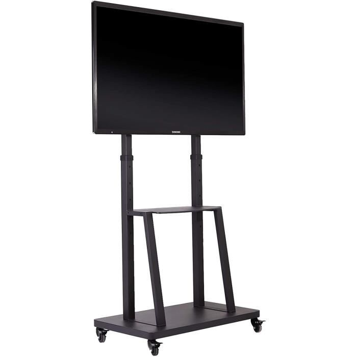 Meuble TV Roulettes - Support TV sur Pied pour Écrans de 32-80 Pouces - Hauteur Réglable 140-162.5cm - Charge 65kg VESA 600x400mm