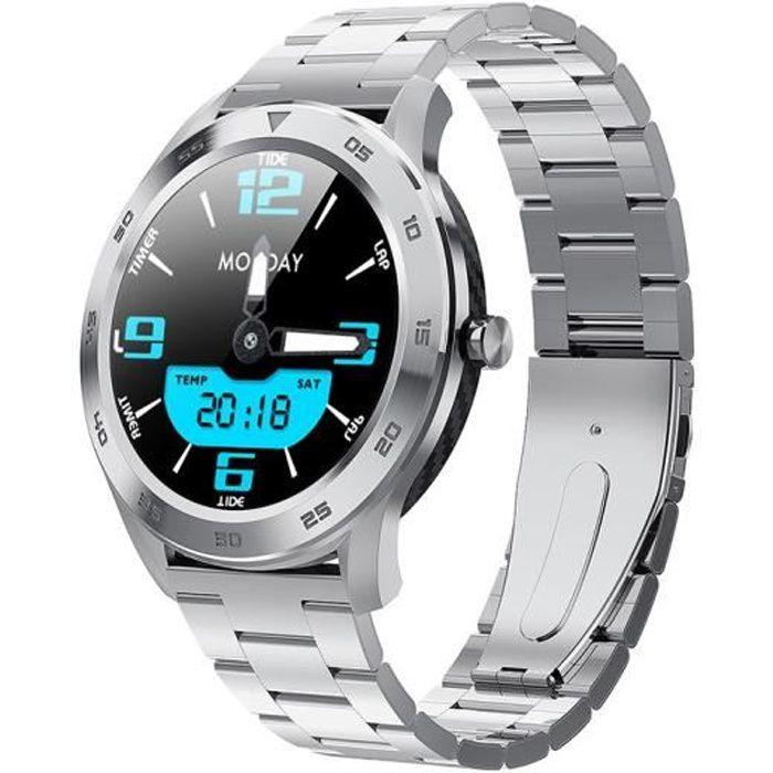 Sport Montre Homme Bracelet en Métal Argent, Bluetooth Montre Connectée Etanche IP68, Podomètre, Calories, ECG Cardiofréquencemètre