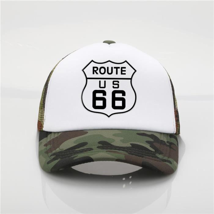 CAMOUFLAGE -Casquette de baseball en filet pour hommes et femmes, chapeau à la mode avec impression Route 66, casquette tendance d
