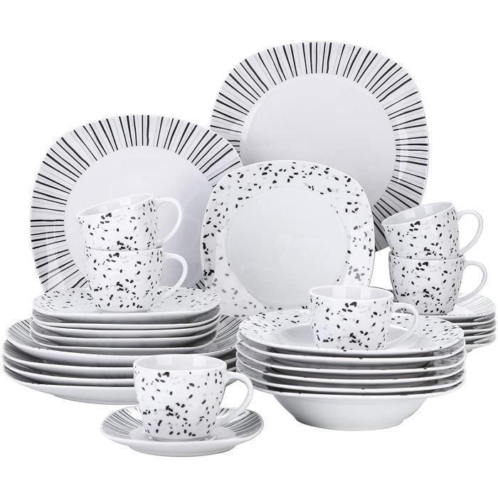 VEWEET, série BESLEY, Service de Table en Porcelaine, 60 pièces pour 12 Personnes Assiettes, Service à Café