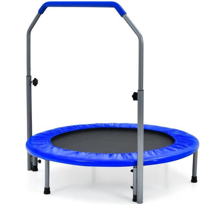 COSTWAY Trampoline de Fitness Pliable 101 cm avec Main Courante en Mousse Hauteur Réglable sur 4 Niveaux Charge 150 kg pour Adultes