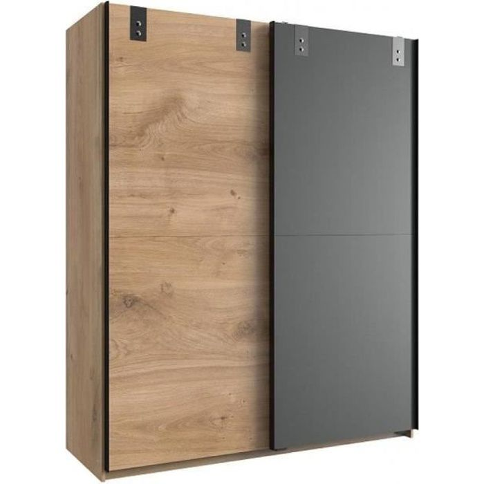 Armoire LISBURN style industriel 135 cm portes coulissantes chêne poutre graphite natural Bois Inside75