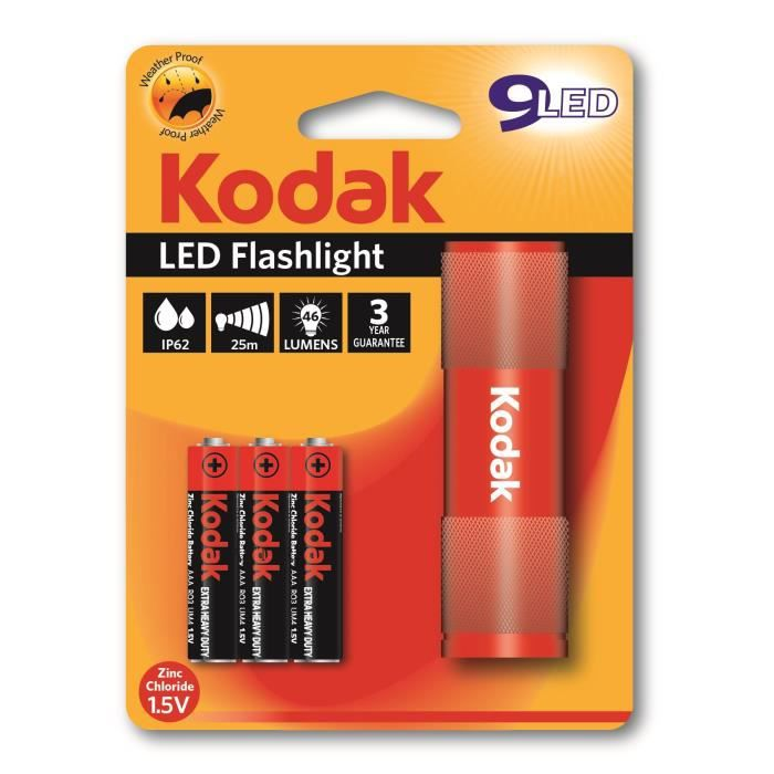 KODAK Lampe torche 9-LED flashlight + 3 Piles LR03/AAA EHD - Rouge