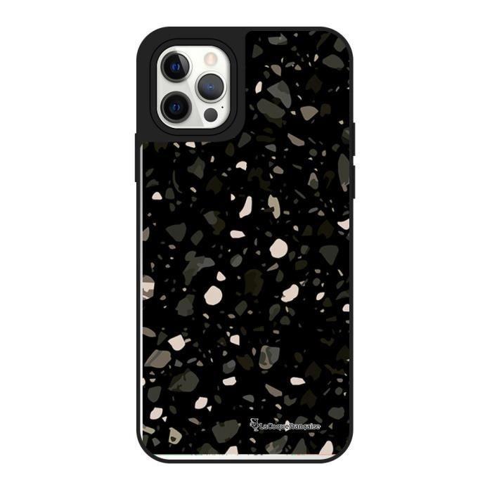 Coque iPhone 12/12 Pro miroir Terrazzo Noir Design La Coque Francaise.