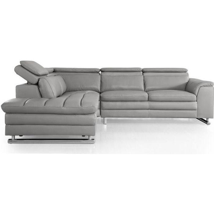 Canapé d'angle gauche en cuir MYA - Gris - Gauche - Gris
