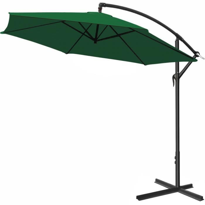 Parasol en alu - Jardin terrasse balcon - Pare soleil - Manivelle - Ø 330cm VERT