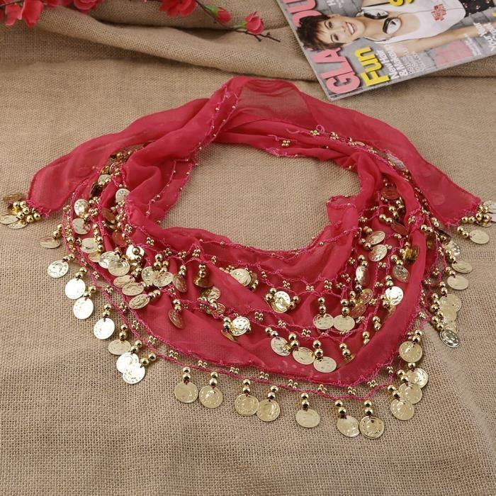 Charleur Rouge Ceinture Foulard de danse orientale 3 rangées 128 pièces costume de danse du ventre 150 * 20cm