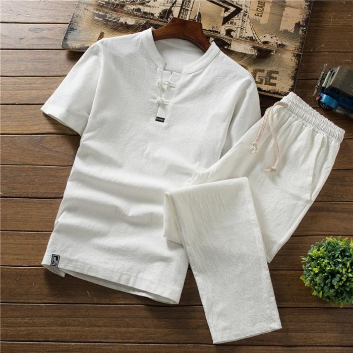 Survêtement à manches courtes en coton et lin pour hommes