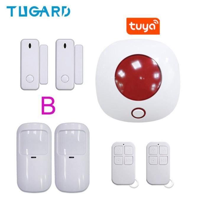 RUMOCOVO® Système d'alarme de sécurité domestique sans fil, sirène stroboscopique Tuya, avec télécommande, wi-fi version 7