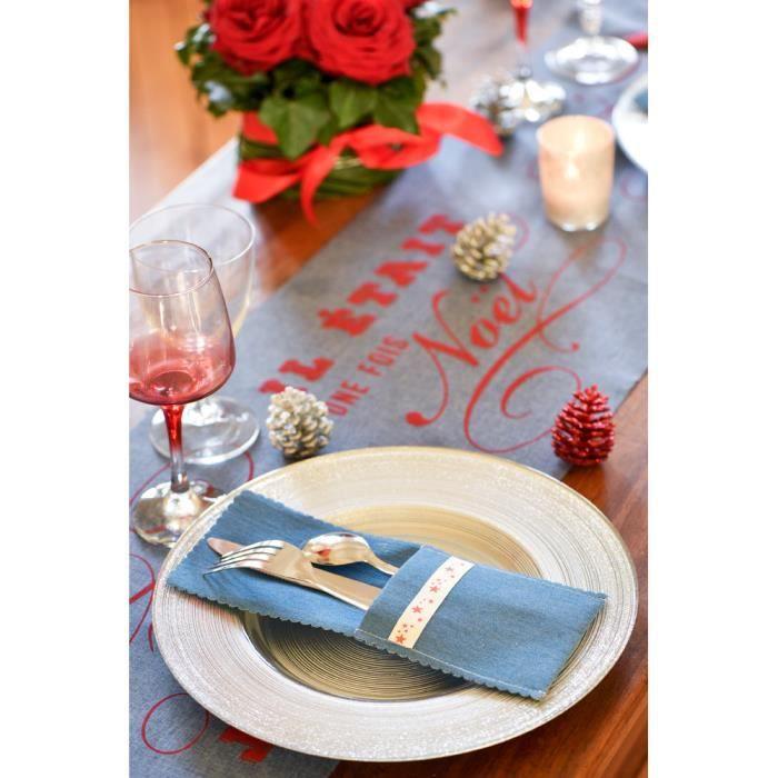 Pochettes à Couverts et Serviettes - Couleur Jean x 4 Multicolor