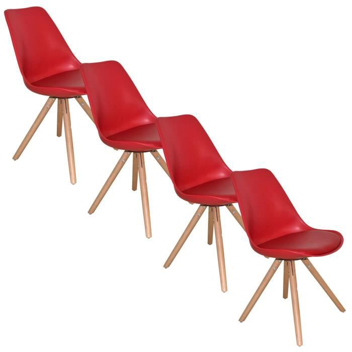 lot de 4 chaises design rouge velta achat vente chaise. Black Bedroom Furniture Sets. Home Design Ideas