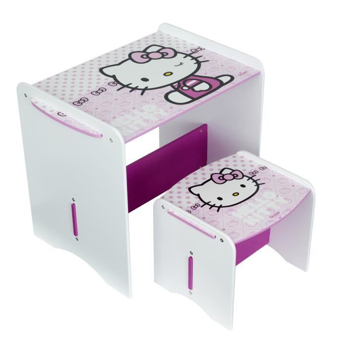 Petit bureau enfant avec tabouret hello kitty c achat for Bureau hello kitty