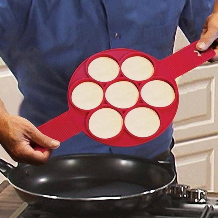MOULE  PFA-2pcs Moule Silicone Pancake Omelettes Crêpe Po