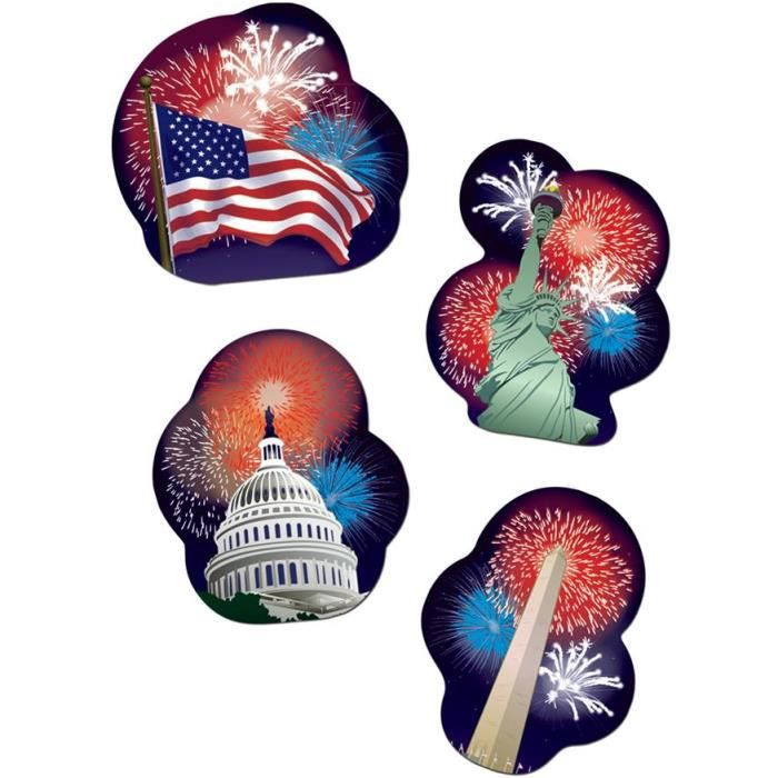 D coration patriotic usa x4 achat vente d co de f te for Decoration murale usa