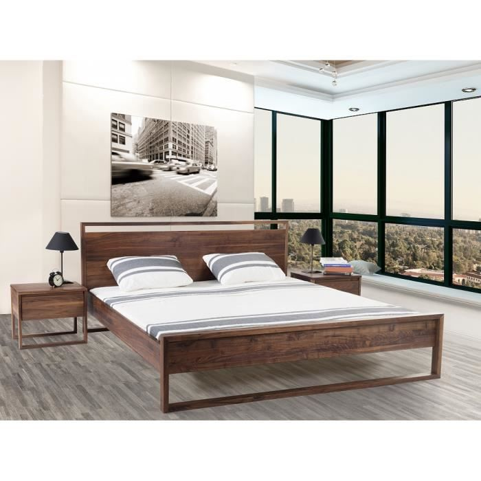 lit design en bois lit double 160x200 cm sommier. Black Bedroom Furniture Sets. Home Design Ideas