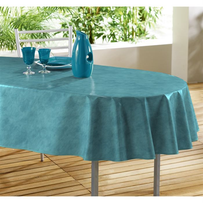 nappe pvc 240x140 beton cire bleu cara be achat vente nappe de table cdiscount. Black Bedroom Furniture Sets. Home Design Ideas