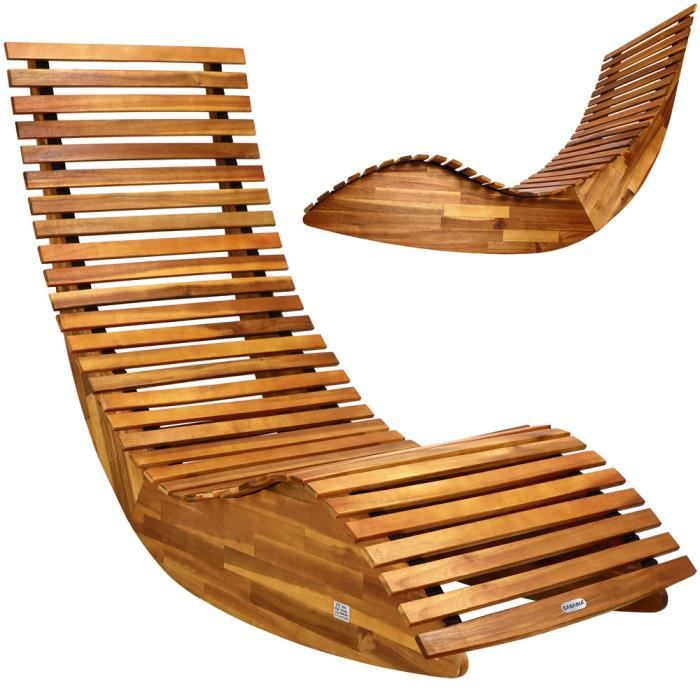 chaise longue bascule en bois jardin plage achat vente chaise longue chaise longue. Black Bedroom Furniture Sets. Home Design Ideas