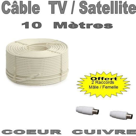 c ble antenne tv ou satellite 10 m tres c ble tv vid o son avis et prix pas cher cdiscount. Black Bedroom Furniture Sets. Home Design Ideas