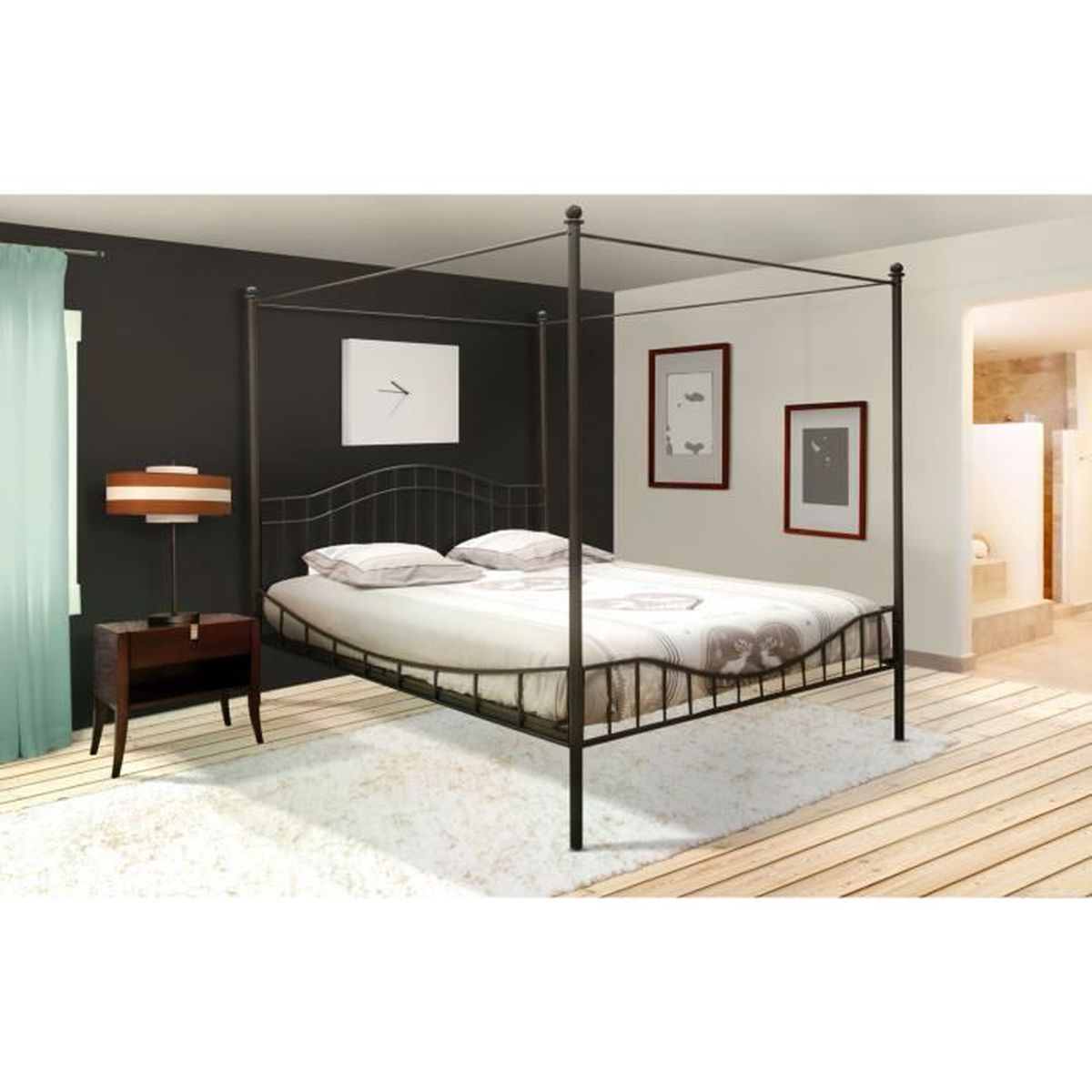 lit baldaquin 2 personnes 160x200 cm noir avec sommier achat vente lit a baldaquin lit. Black Bedroom Furniture Sets. Home Design Ideas