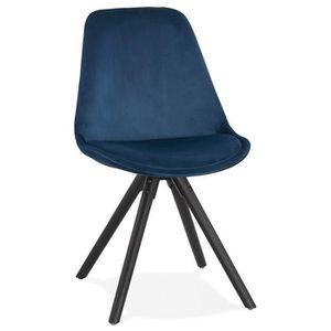 CHAISE Chaise vintage 'RICKY' en velours bleu et pieds en