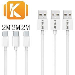 CÂBLE TÉLÉPHONE Lot de 3 - 2m/200cm/6ft - CABLE TYPE-C USB POUR SA