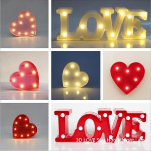 Led Night Light Sign 3d Love Batterie Luminaria Lampe De