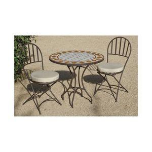 Ensemble jardin acier bronzé et mosaïque 4 chaises pliables ...